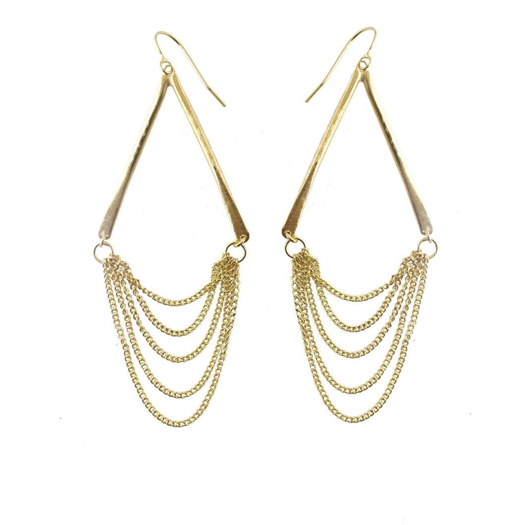 Faba Geometric Drop Chain Earrings