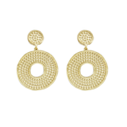 Doby Small Round Embossed Earrings