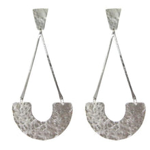Marcia Moran Hammered post earrings gold br473 rhodium/silver