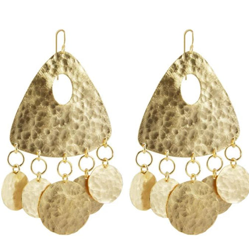 Marcia Moran Hammered drop earrings with attached coins br475 gold