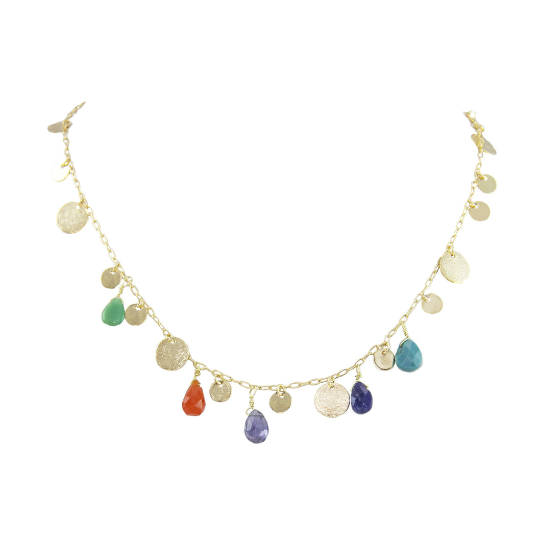 Jaya Multi-Stone Coin Necklace