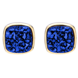 Marcia Moran Small Square Dark Blue Druzy Studs