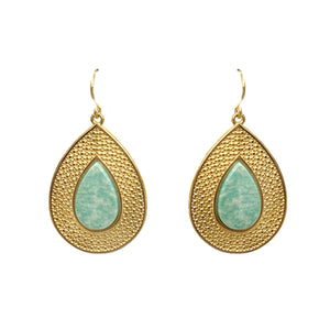 Eric Embossed Teardrop Earrings with Stone