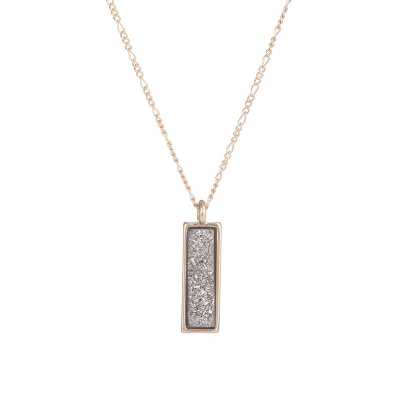 ARBOR VERTICAL SMALL DRUZY RECTANGLE NECKLACE