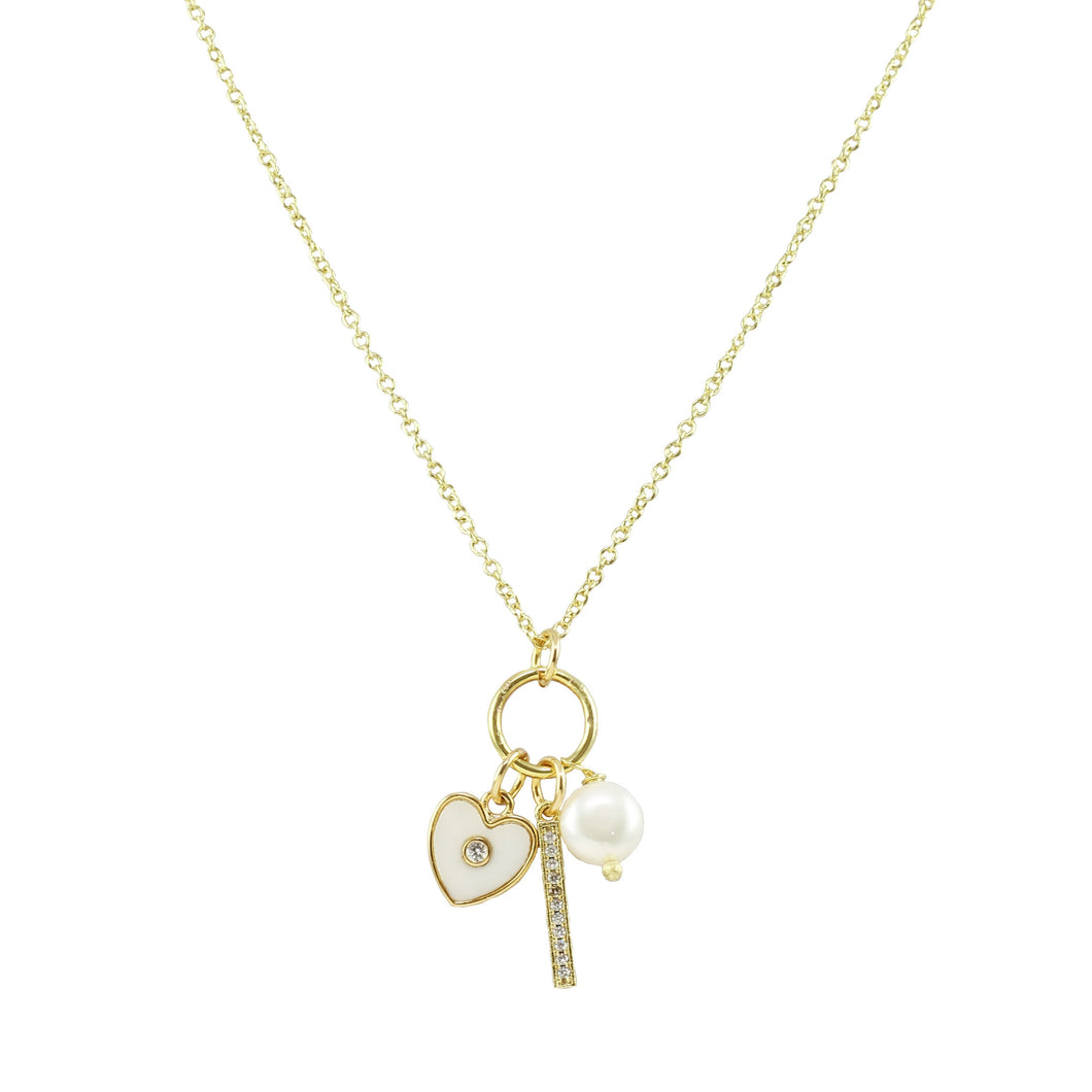 Jasmina Pearl Charm Necklace