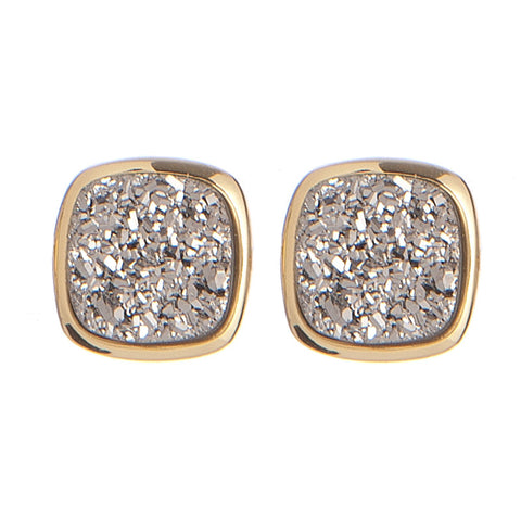 LBR108- Marcia Moran Antique Rounded Square Studs in Titanium Druzy