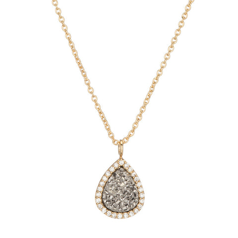 BB191p Kuri Teardrop Necklace In Titanium Druzy