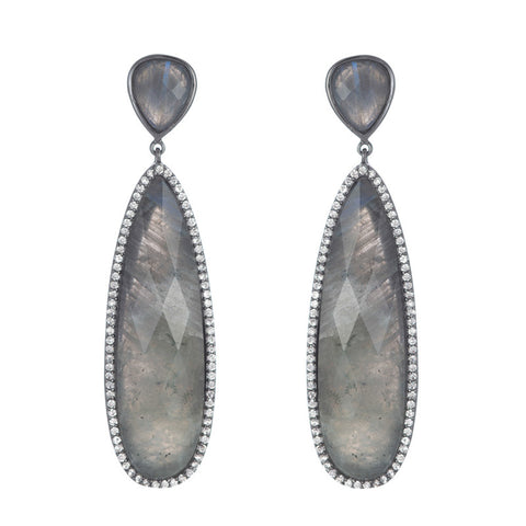 BB192e Marcia Moran Drop Post Earrings in Labradorite