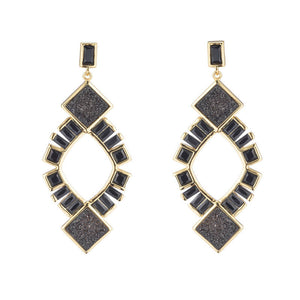 BB291e Marcia Moran Black Druzy And Crystal Earrings