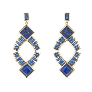 BB291e Marcia Moran Lapis And Crystal Earrings