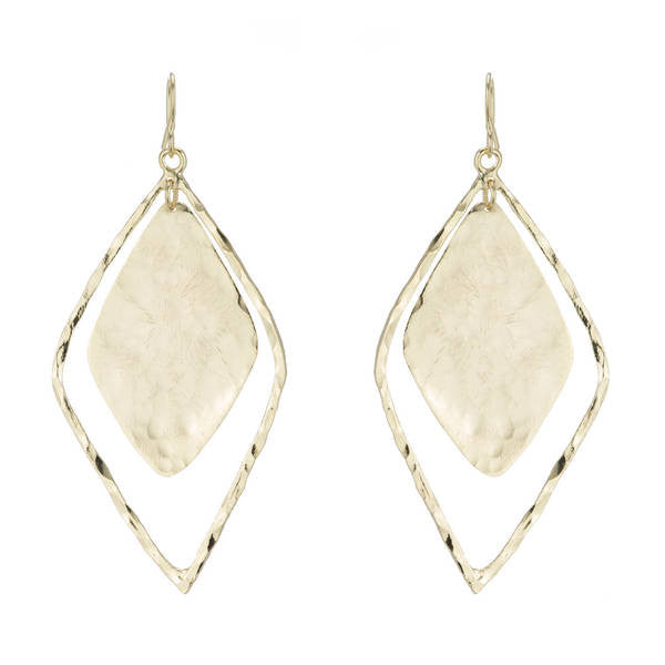Marcia Moran 18K Gold plated double diamond shaped hammered earrings
