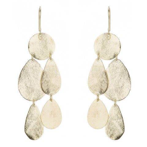 BR062 Marcia Moran Rosita Brushed Gold Chandelier Earrings