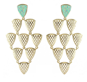 Pieta Statement Chandelier Earrings with Stone