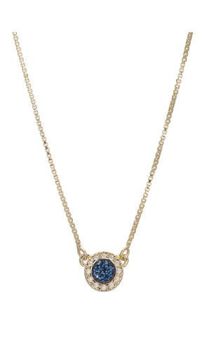 Aniese Small Circle Druzy Pendant With CZ Border
