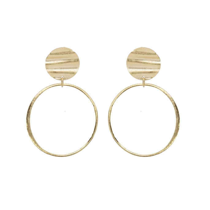 Laurie Wavy Coin Hoop Earrings
