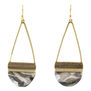 MISSY STONE AND WOOD DROP EARRINGS