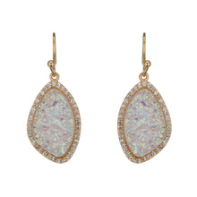 BB178e Marcia Moran Lilly Small Organic Shape Earrings Natural White Druzy