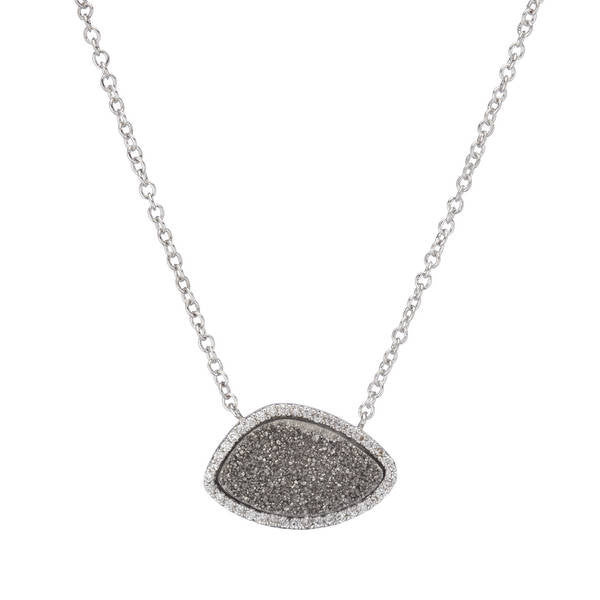 BB178p Marcia Moran Valencia Necklace in Rhodium Titanium Druzy Silver Druzy  Organic Shape Semiprecious Gemstone Everyday Pendant Brazilian Los Angeles
