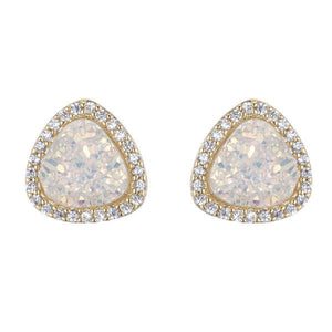 BB194e Marcia Moran Trois Triangle Stud in Natural White Druzy
