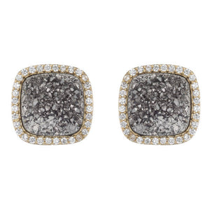 BB195e Affinity and Piper CZ Framed Classic Square Unique Stud Earrings by Marcia Moran in Titanium Druzy Silver Druzy Core of The Agate Druzy Quartz with 18k Gold Brazilian Los Angeles Jewelry Semiprecious Gemstone