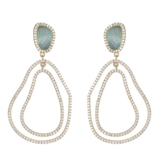 ELVIA STONE AND PAVE LOOP EARRINGS