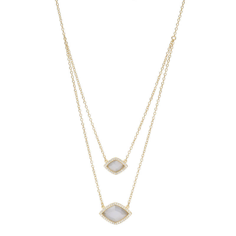 BB265p Marcia Moran Diamond Shape Layer Necklace Cats Eye