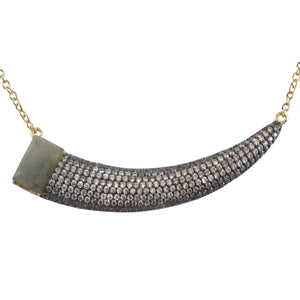 AURORA GEMSTONE AND PAVE HORN NECKLACE