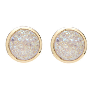 Binoli Classic Stud by Marcia Moran BB2998 Marcia Moran Small Circle Druzy Studs in Natural White Druzy