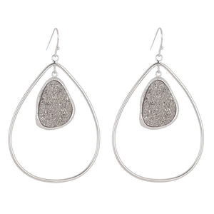 bb3011 Marcia Moran Flora Drop Earring in Rhodium Titanium Druzy