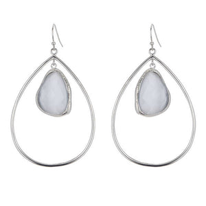 bb3011 Marcia Moran Flora Drop Earring in Rhodium Cats Eye