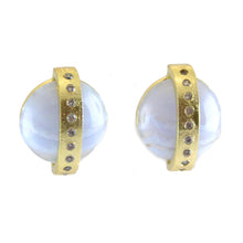 Marcia Moran A half dome of a blue lace agate is crossed by an 18k gold plated band inset with CZ