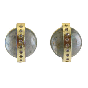 Marcia Moran A half dome of a labradorite is crossed by an 18k gold plated band inset with CZ