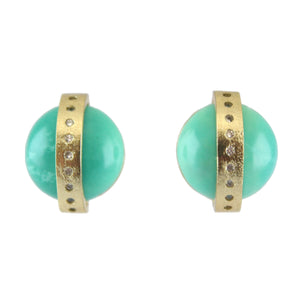 Marcia Moran A half dome of a turquoise is crossed by an 18k gold plated band inset with CZ
