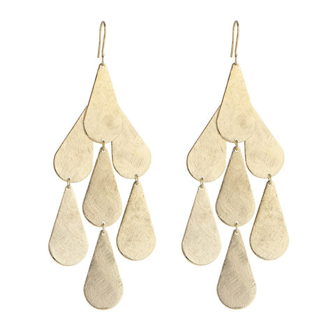Marcia Moran Carola Drop Chandelier Earrings BM702 Gold Raindrop