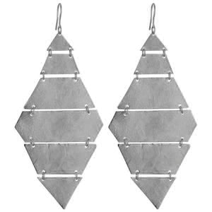 Marcia Moran Canary Diamond shaped Earrings in Gunmetal