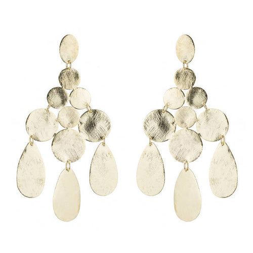 Marcia Moran Hunter Circle and Drop Gold Plated Chandelier Earrings