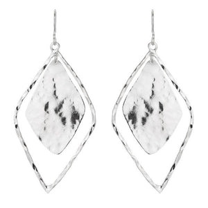 Marcia Moran 18K Rhodium plated double diamond shaped hammered earrings