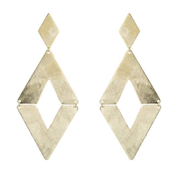 Marcia Moran Rubin Gold Diamond Shaped Drop Earrings BR084
