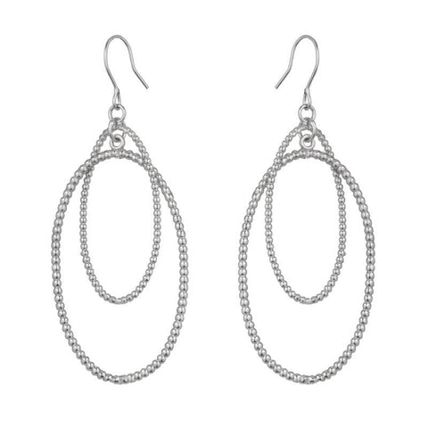 Marcia Moran Carmen Rhodium Interlocking Oval Earrings BR166