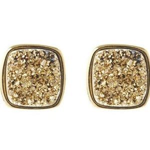 LBR108- Marcia Moran Antique Rounded Square Studs in Gold Druzy