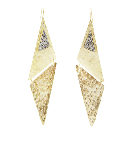 Sybil Gammered Druzy Drop Earrings