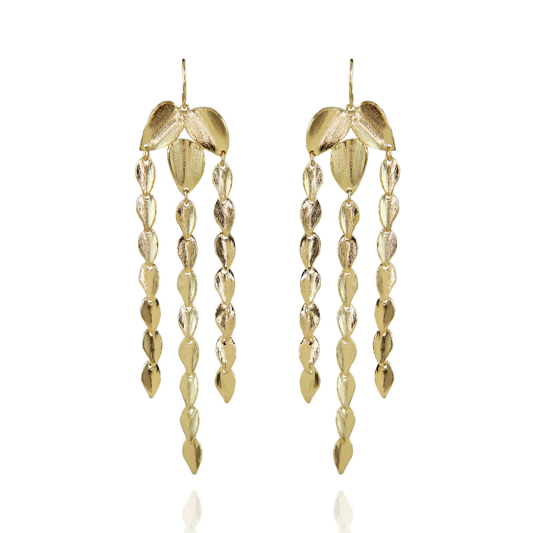 Nelda Delicate Chandelier Leaf Earrings