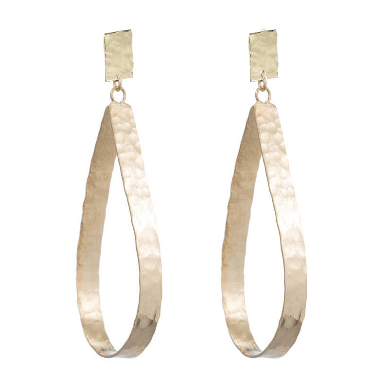 DIANE HAMMERED OPEN DROP EARRINGS