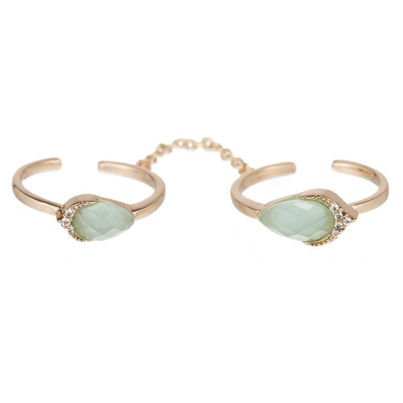 ROXIE ADJUSTABLE DOUBLE RING WITH SMALL OVAL STONES