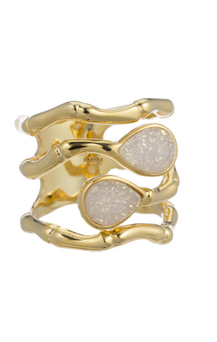 18K GOLD PLATED BAMBOO TEXTURE DOUBLE WHITE DRUZY STONE RING.