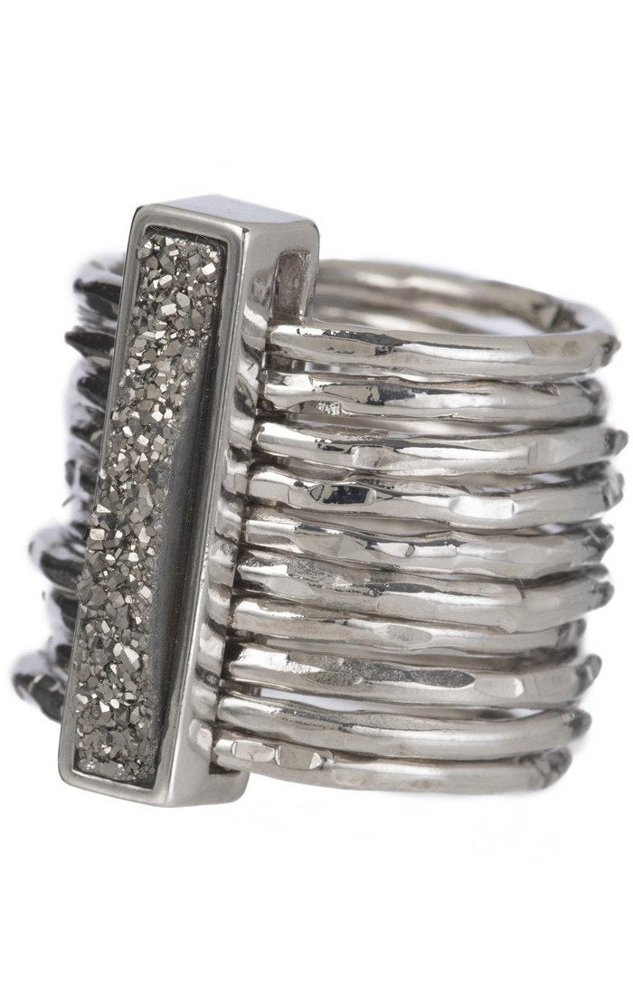 Marcia Moran multiband ring in rhodium and titanium druzy rectangular stone