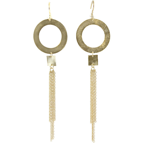ROWLAN CIRCLE AND FRINGE EARRINGS