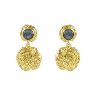Helena Texture Small Drop Earrings with Stone