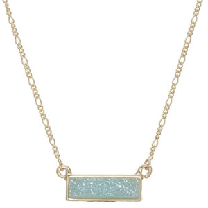 Aubri Small Horizontal Druzy Bar Necklace