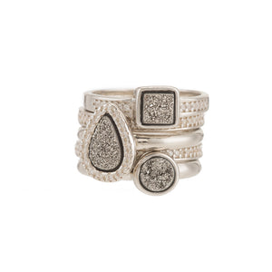 Elements Druzy Stackable Ring Set